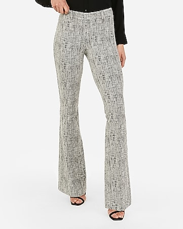 bb2ba99d1913c mid rise textured stretch pull-on flare leg pant