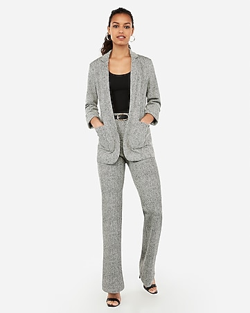 2c3257ea2018 Black And White Textured Knit Pull-on Flare Pant Suit