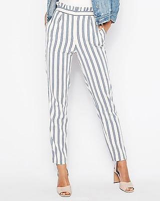 petite high waisted stripe ruffle ankle dress pant