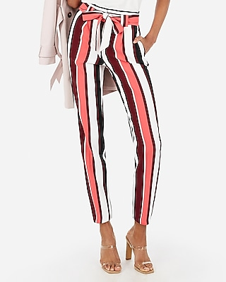 Petite high waisted striped sash tie ankle pant