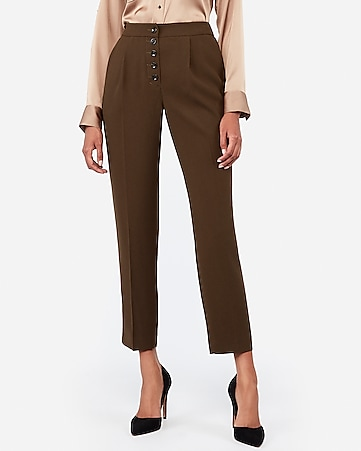High Waisted Pleated Button Front Ankle Pant by Express