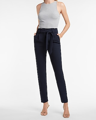 Petite high waisted sash tie ankle pant