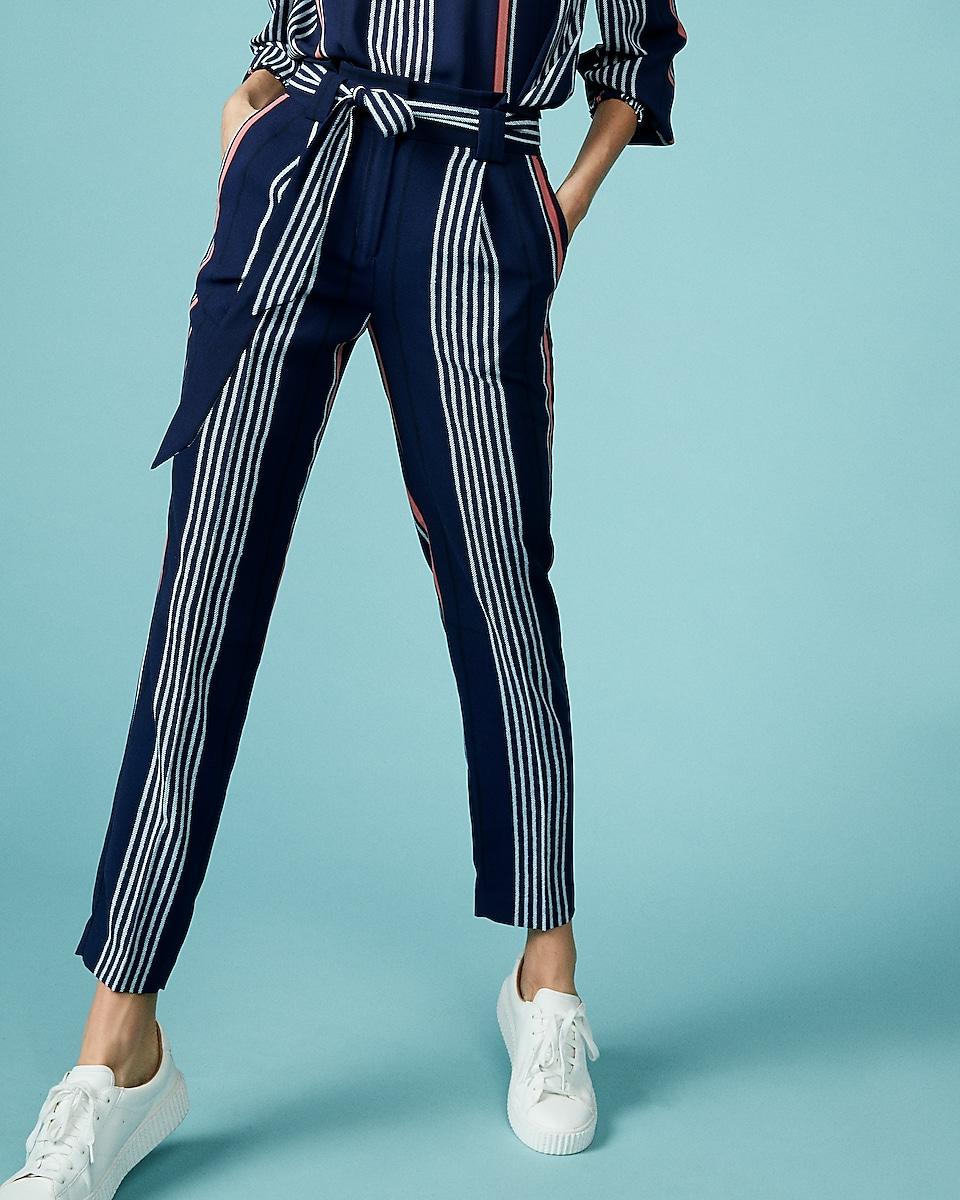 Striped Sash Waist Ankle Pant | Express