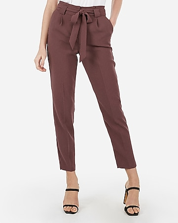 8bf201e494d6b1 High Waisted Sash Tie Ankle Pant | Express