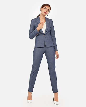 3a4df0c3283 Navy Ankle Curve Pant Suit