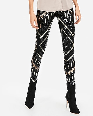 petite high waisted patterned sequin leggings