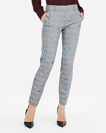 Express View · mid rise floral embroidered plaid skinny columnist pant