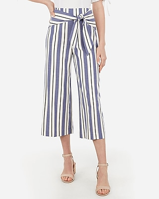Petite striped knot front cropped culottes