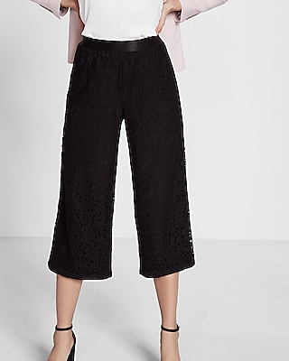 Mid Rise Lace Cropped Wide Leg Pant