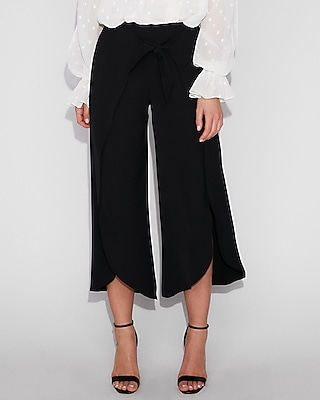 petite high waisted knot surplice cropped pant