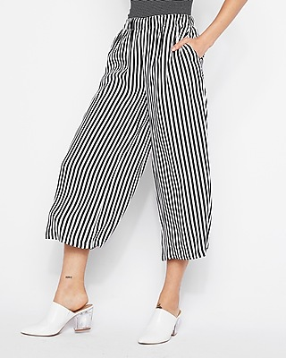 Mid Rise Striped Culottes by Express