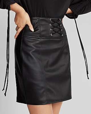 High Waisted Faux Leather Corset Mini Skirt | Express