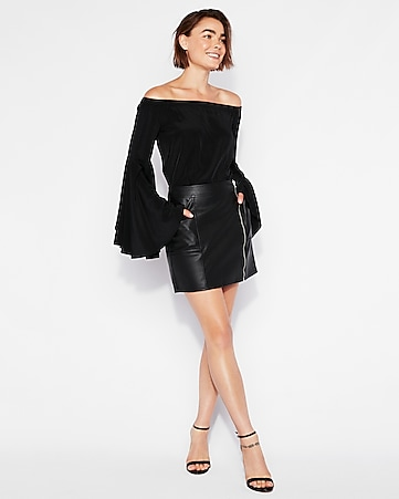 dd779c05ef1 Express View · high waisted (minus the) leather zip mini skirt
