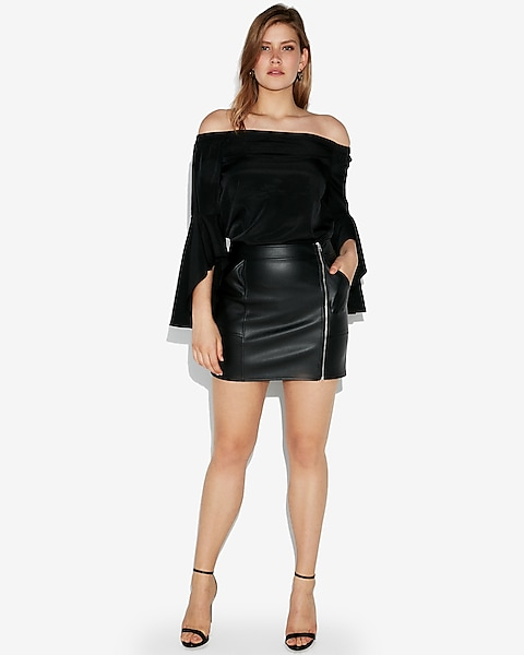 02e9c815dc High Waisted (minus The) Leather Zip Mini Skirt | Express