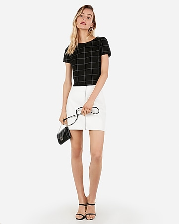 9999627023a Express View · (minus the) leather o-ring zip front mini skirt