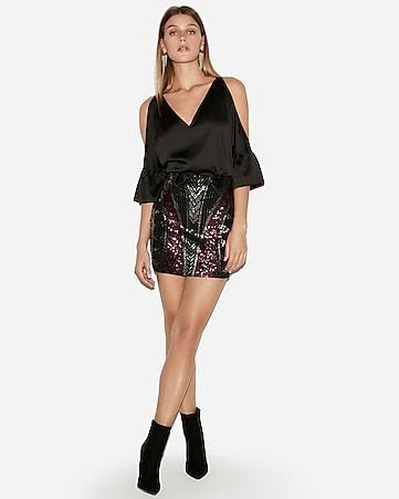 03ee79ba1a33 high waisted geometric sequin mini skirt