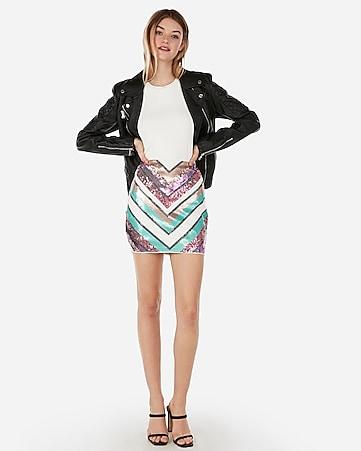 e086fa48b5a858 Express View · high waisted chevron sequin mini skirt