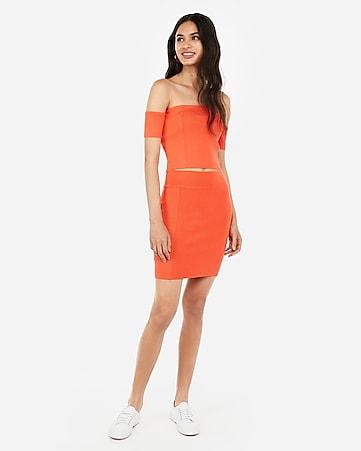 1fd4fa5b14 Express View · Neon Orange Ribbed Side Sweater Mini Skirt Set