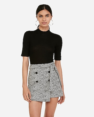 ca1278006 Express View · high waisted jacquard wrap button front skort