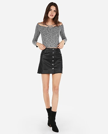 e517b374aad91 Express View · high waisted (minus the) leather snap front mini skirt