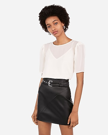 ace730f714f Express View · high waisted faux leather belted mini skirt