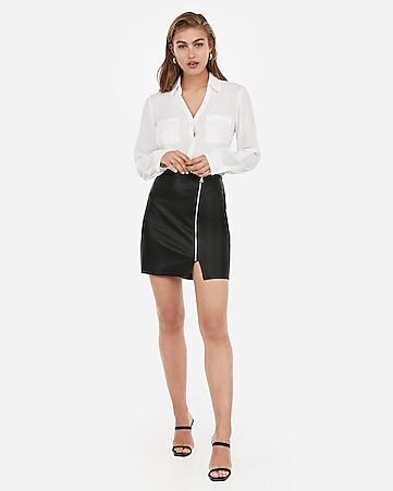 b93e70b2da1a Express View · high waisted faux leather zip front mini skirt