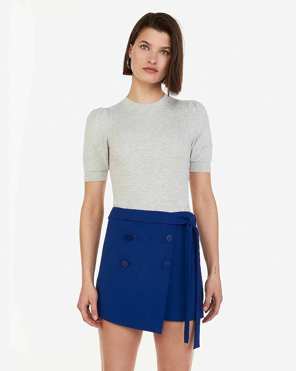 Petite high waisted button front wrap sash tie skort