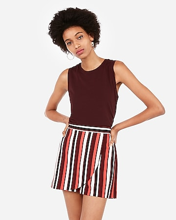 high waisted striped wrap front skort