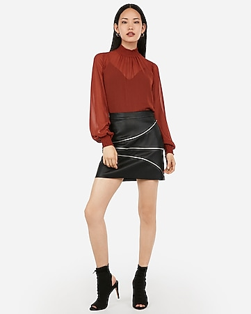 vegan leather asymmetrical zipper mini skirt