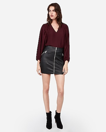 high waisted zip front vegan leather mini skirt