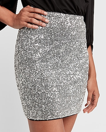 high waisted all-over sequin mini skirt