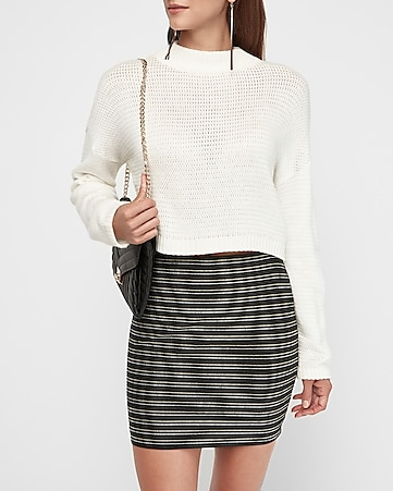 high waisted metallic striped knit mini skirt