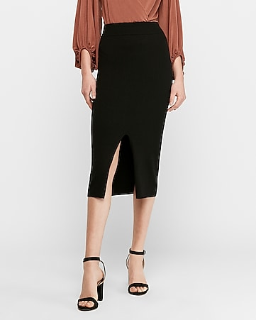 high waisted ribbed sweater pencil skirt