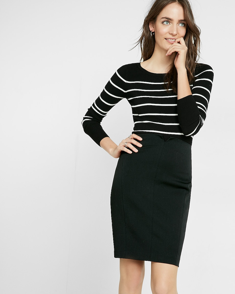 Petite High Waisted Notch Front Pencil Skirt | Express