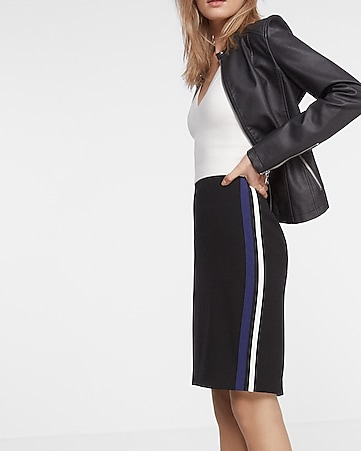 high waisted side stripe pencil skirt