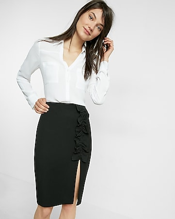 High Waisted Pintucked Pencil Skirt | Express
