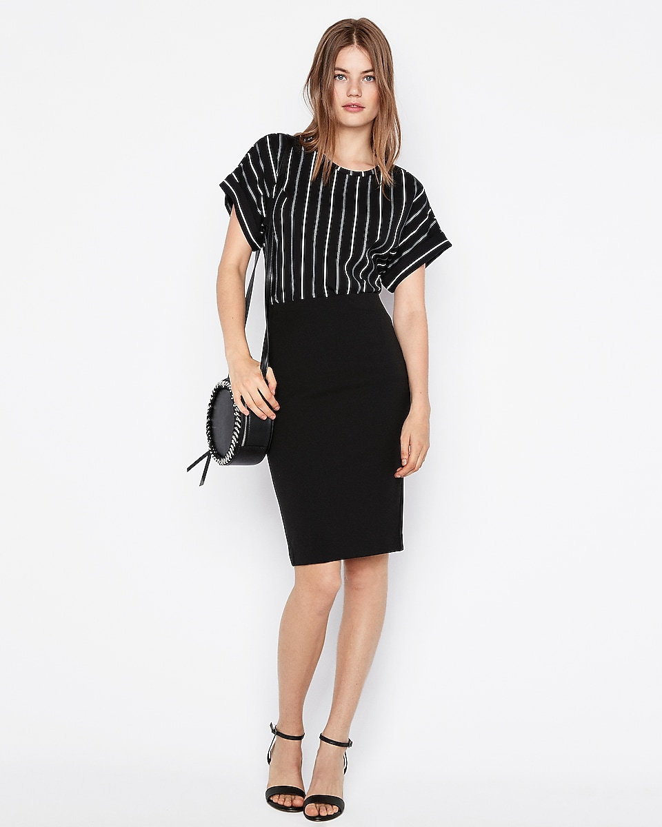 Petite high waisted extreme stretch pencil skirt