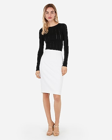 8f10a8c9e0 Express View · high waisted clean front pencil skirt