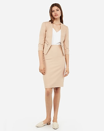 687f1dd052 Express View · high waisted clean front pencil skirt