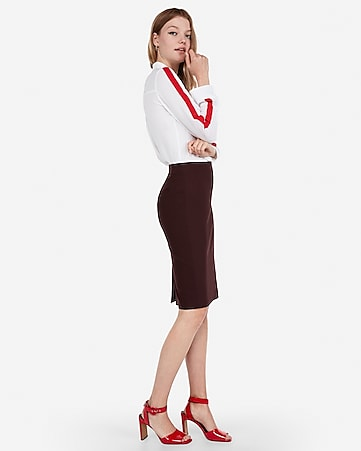4eb0c1486c27e5 Express View · high waisted clean front pencil skirt