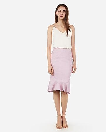 ced012c583 Express View · high waisted linen-blend flutter pencil skirt