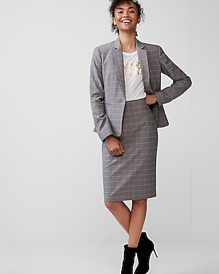 petite high waisted windowpane pencil skirt