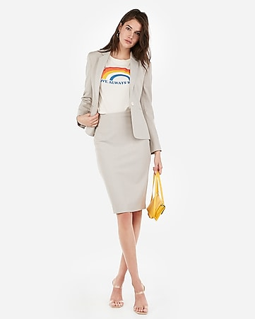 aedc246a56a57b Express View · high waisted clean front textured pencil skirt