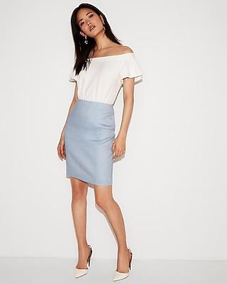 High Waisted Linen Blend Seamed Pencil Skirt by Express