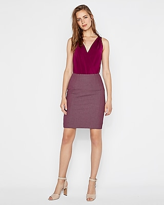 High Waisted Twill Seamed Pencil Skirt by Express