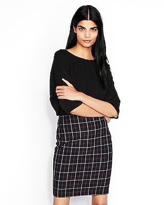 High Waisted Plaid Pencil Skirt by Express