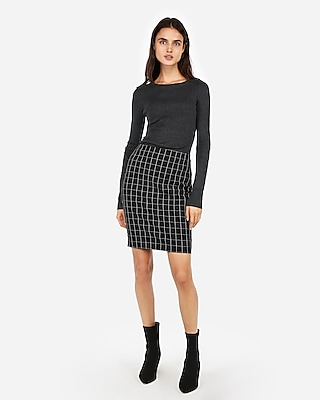 petite high waisted stitched windowpane pencil skirt