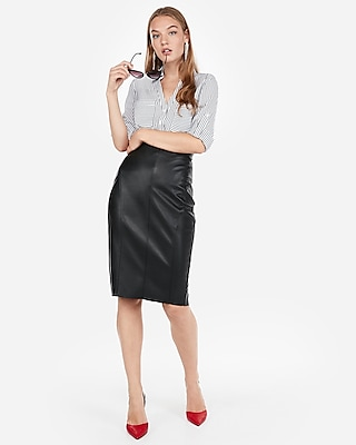 petite high waisted seamed (minus the) leather pencil skirt
