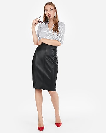 3fd15ab7e44 Express View · high waisted seamed (minus the) leather pencil skirt