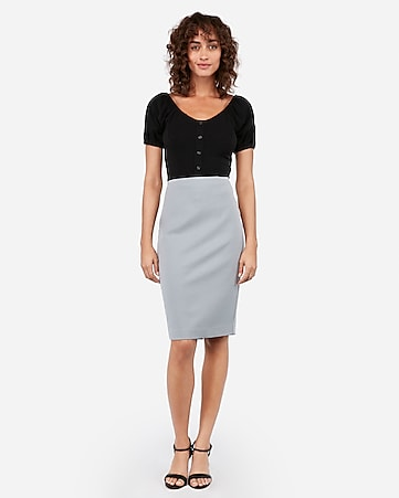 high waisted clean front pencil skirt
